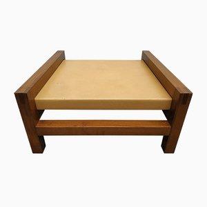 Tavolino in legno ed ecopelle, anni '50