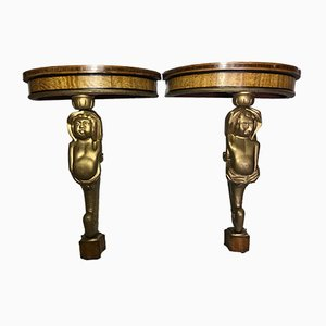 Vintage French Marquetry Demi Lune Cherub Console Tables, Set of 2