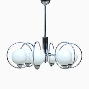 Lámpara colgante Mid-Century Modern de metal cromado con seis globos