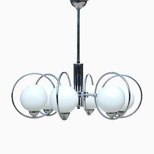 Lampe à Suspension Mid-Century Moderne Chromé avec 6 Globes