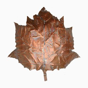 Handmade Leaf Wall Sconce in Solid Copper, Germany, 1970s