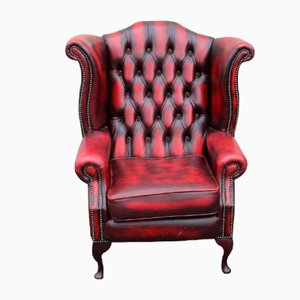 Red Chesterfield Wingback Chair in Buttoned Leather, 1960s