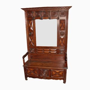 High Breton Hallstand with Storage Bench in Carved Oak, 1920s