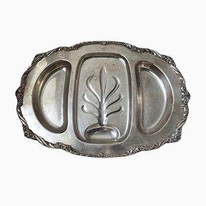 Piatto grande vintage decorato in metallo placcato in argento