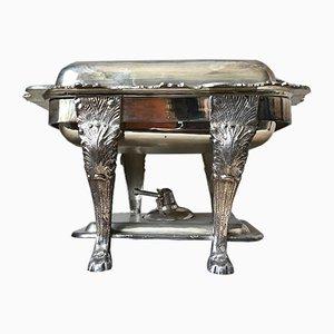Piatto vintage placcato in argento con base e bruciatore