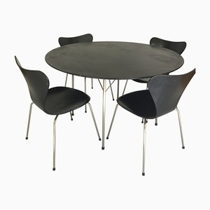 Model FH 3600 Dining Table & 4 Model FH 3107 Chairs by Arne Jacobsen for Fritz Hansen, 1950s