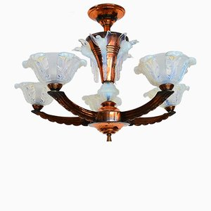 French Copper & Opal Glass Chandelier from EZAN, 1930s