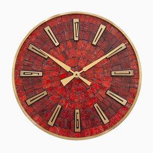 Modernist Red Mosaic Wall Clock from Junghans, 1960s