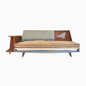Sofá cama con espacio de almacenamiento, años 60