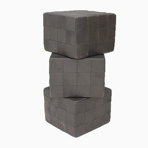 Leather Cube Footstool from de Sede, 1970s