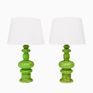 Green Ceramic Table Lamps, 1970s, Set of 2