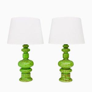Lampes de Bureau en Céramique Verte, 1970s, Set de 2