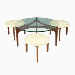 Table Basse à 3-Pieds & 3 Tabourets Vintage par Sven Ellekaer pour Christian Linneberg