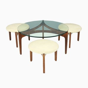 Vintage 3-Leg Coffee Table & 3 Stools by Sven Ellekaer for Christian Linneberg