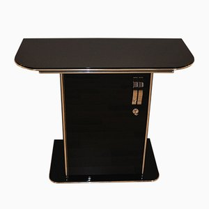 Black Art Deco Console with Chrome Details, 1930s