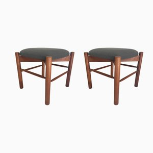 Vintage Teak Stools, Set of 2