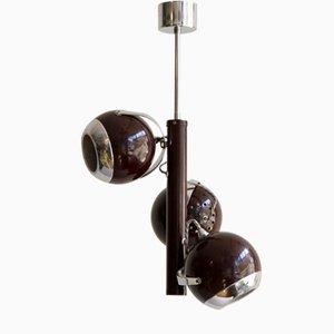 Lámpara colgante atómica vintage en plateado y borgoña