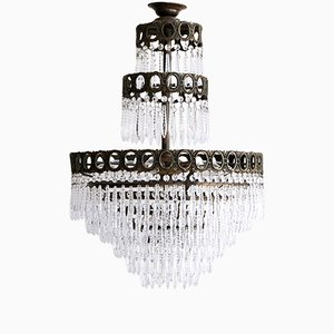 Large Vintage Waterfall Chandelier with Faceted Icicles