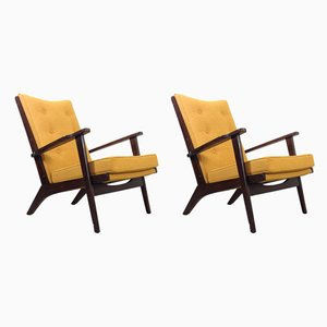 Mid-Century Mustard Yellow Lounge Chairs from Parker Knoll, 1950s, Set of 2