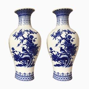Vases avec Fleurs et Oiseaux Vintage en Porcelaine de Chine Bleue et Blanche, Set de 2