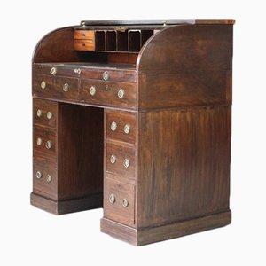Antiker georgianischer Schreibtisch aus Mahagoni mit Rollfach