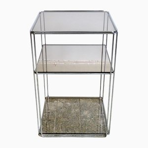 Vintage Side Table in Chrome & Smoked Glass by Max Sauze for Atrow