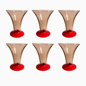 Small Blown Glasses from Venini, 1930s, Set of 6