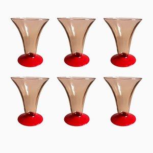 Vasos pequeños de vidrio soplado de Venini, años 30. Juego de 6