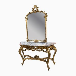 Antique Console with Mirror, 1900s