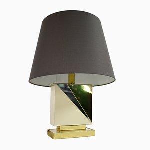 Lámpara de mesa vintage de latón y metal cromado, años 70