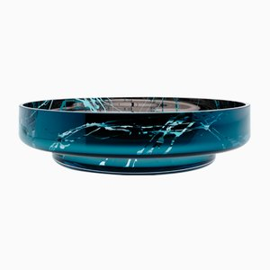 MOON Disk Teal Splashed Bowl by Artis Nimanis for an&angel
