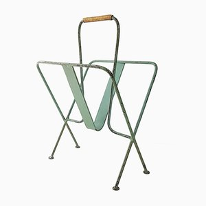 Mid-Century French Green Metal & Brass Magazine Rack by Jacques Adnet, 1950s