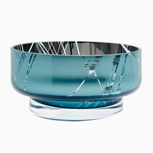 MOON Mini Disk Splashed Teal Bowl by Artis Nimanis for an&angel