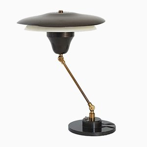 Mid-Century Brown Steel & Gilded Brass Articulated Table Lamp, 1950s