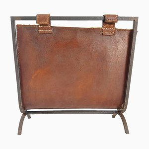Mid-Century French Steel & Brown Leather Magazine Rack, 1950s