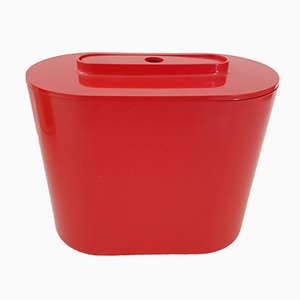 8240 Red Plastic Ice Bucket & Tongs by Giotto Stoppino for Kartell, 1970s