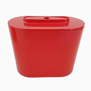 Italienischer roter Plastik 8240 Eiskübel & Zange von Giotto Stoppino für Kartell, 1970er