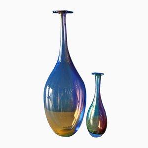 Jarrones de vidrio de Kjell Engman para Kosta Boda, años 80. Juego de 2