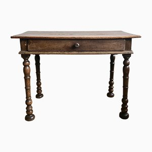 Antique Farmhouse Table with Drawer, 1840s