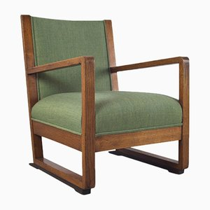 Art Deco Amsterdam School Lounge Chair in Solid Oak, 1930s