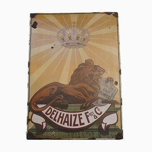 Großes Emailleschild mit Delhaize Löwe von H. Henrijean, 1910er