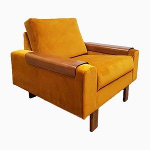 Mid-Century Gold Velvet Lounge Chair