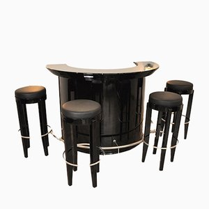 Art Deco Bar with 4 Stools, 1920s