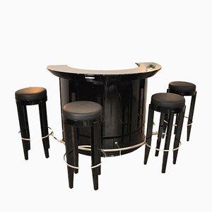 Mueble bar Art Déco con cuatro taburetes, años 20