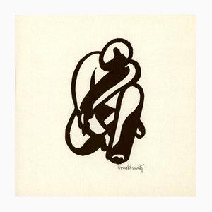 Xilografía de hombre agachado de Hans Schmitz para Panderma, 1977
