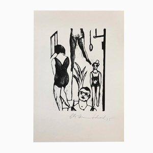 Schweizer Holzschnitt von Christian Schad für Panderma, 1970er