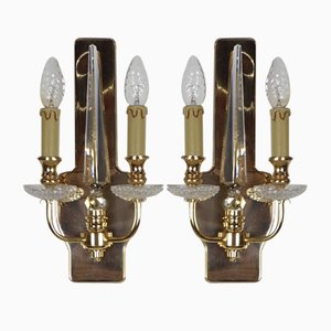 Brass & Crystal Sconces from Val Saint Lambert, Set of 2