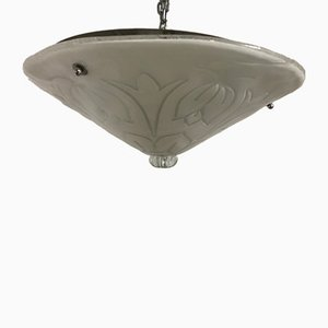 Mid-Century Murano Glass Flush Mount Ceiling Light