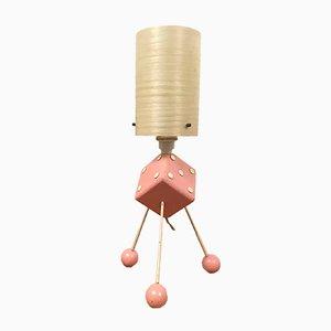 Lámpara de mesa Rockabilly Mid-Century con trípode en forma de dado