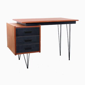 Teak Veneered Desk with Hairpin Legs from Tijsseling Nijkerk, 1950s